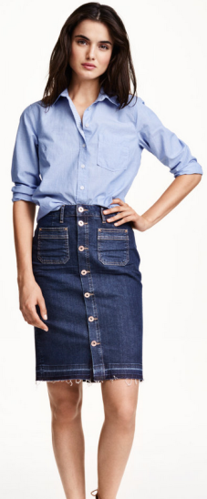 H&M ~ Midi Denim Skirt